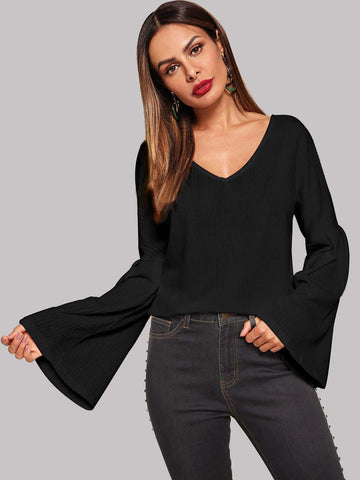 Emma Clothing Women S Bell Sleeve Ribbed Solid Sweater