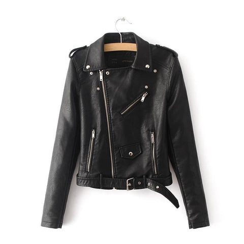 Emma Clothing Women S BLack Faux Leather Belted Moto Jacket With Zipper
