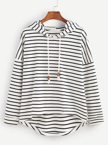 Emma Clothing Women S Black White Striped Drop Shoulder High Low Hooded Sweatshirt