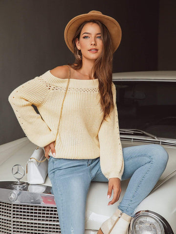 Emma Clothing Women S Boat Neck Pointelle Knit Sweater