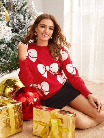 Emma Clothing Women S Bow Print Long Sleeve Sweater