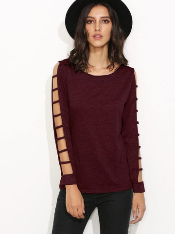 Emma Clothing Women S Burgundy Ladder Cut Out Sleeve T-shirt