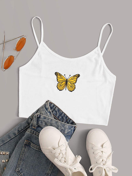 Emma Clothing Women S Butterfly Print Crop Cami Top
