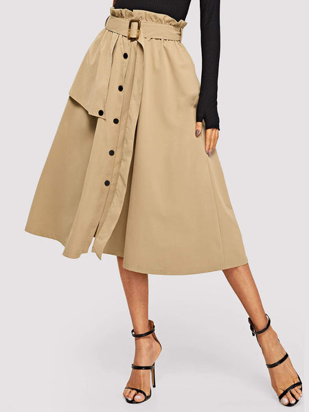 Emma Clothing Women S Button Front Belted Paperbag Utility Skirt