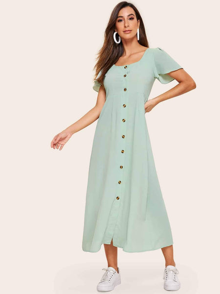 Emma Clothing Women S Button Front Shirred Back Longline Dress