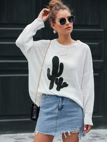 Emma Clothing Women S Cactus Embroidery Drop Shoulder Oversized Sweater
