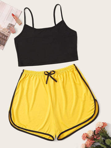 Emma Clothing Women S Cami Top With Elastic Waist Shorts PJ Set