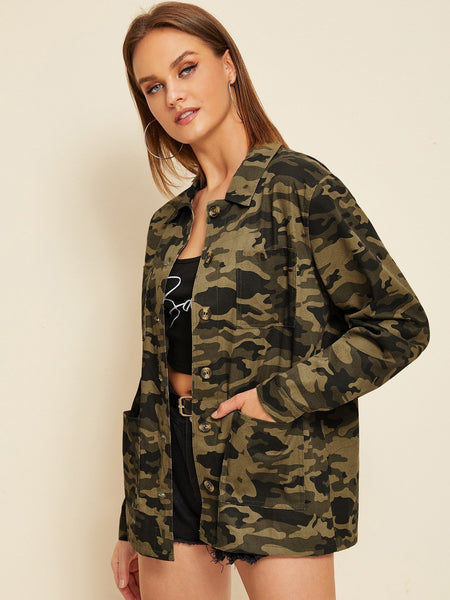 Emma Clothing Women S Camouflage Print Pocket Button Through Coat