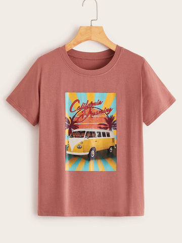 Emma Clothing Women S Car & Letter Print Tee