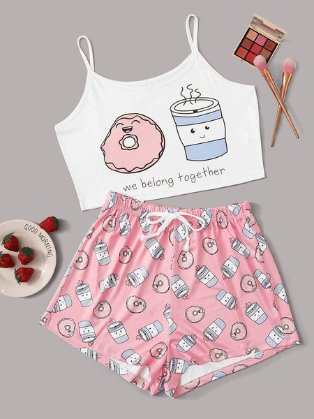 Emma Clothing Women S Cartoon & Letter Print Cami Pajama Set