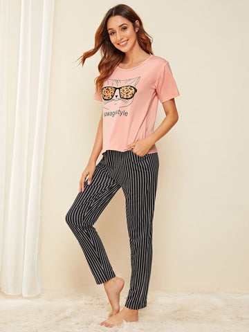 Emma Clothing Women S Cat & Letter Graphic Striped Pajama Set