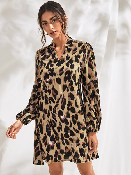Emma Clothing Women S Cheetah Print Notch Neck Shirt Dress