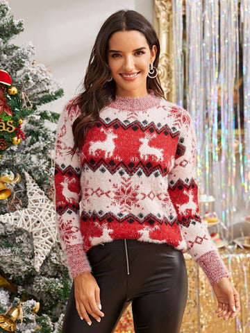 Emma Clothing Women S Christmas & Elk Print Fuzzy Sweater