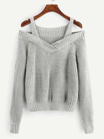 Emma Clothing Women S Cold Shoulder Solid Sweater