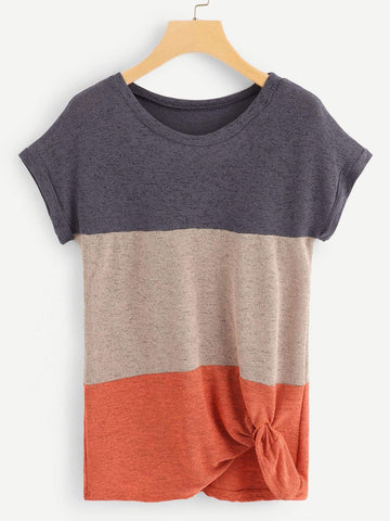 Emma Clothing Women S Color Block Twist Front Tee