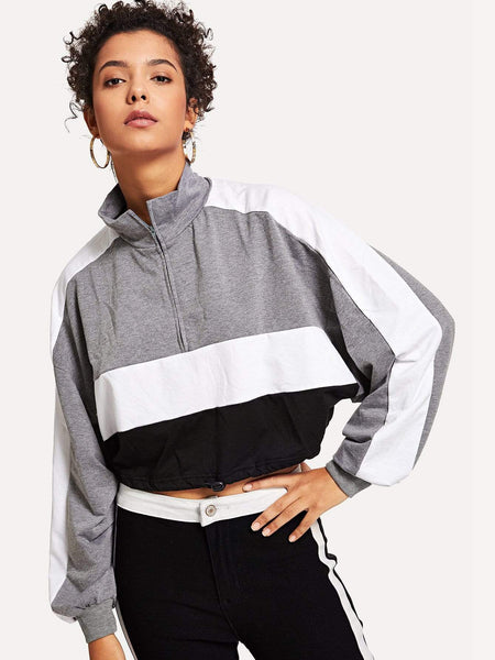 Emma Clothing Women S Colorblock Drawstring Waist Sweatshirt