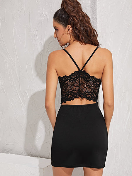 Emma Clothing Women S Contrast Lace Back Bodycon Cami Dress