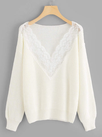 Emma Clothing Women S Contrast Lace Solid Sweater
