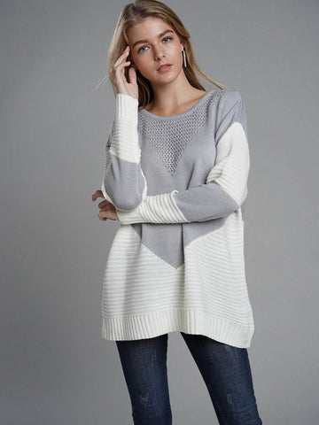 Emma Clothing Women S Contrast Panel Ribbed Knit Sweater
