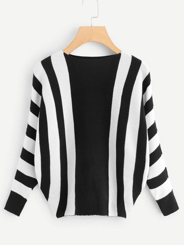 Emma Clothing Women S Contrast Stripe Ribbed Knit Sweater