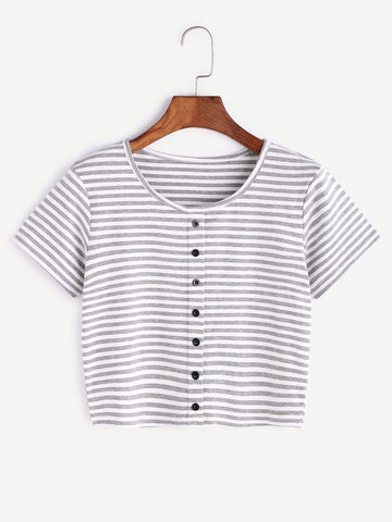 Emma Clothing Women S Contrast Striped Crop T-shirt With Buttons