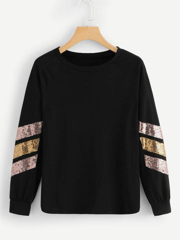 Emma Clothing Women S Contrast Striped Sequin Tee