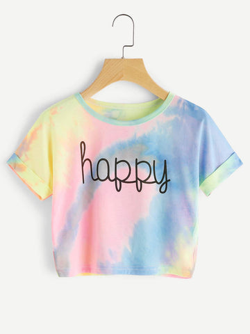 Emma Clothing Women S Cuffed Sleeve Crop Pastel Tie Dye Tee