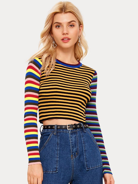 Emma Clothing Women S Cut And Sew Colorful Striped Sweater