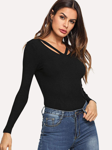 Emma Clothing Women S Cut Out Neck Knit Sweater