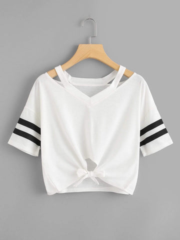 Emma Clothing Women S Cut Out Neck Varsity Striped Knot Front Tee