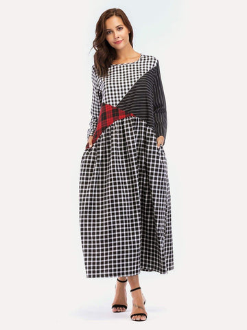 Emma Clothing Women S Cut & Sew Plaid Maxi Dress