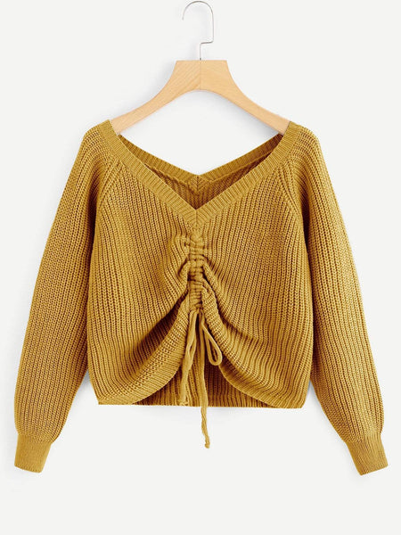 Emma Clothing Women S Drawstring Detail Solid Sweater