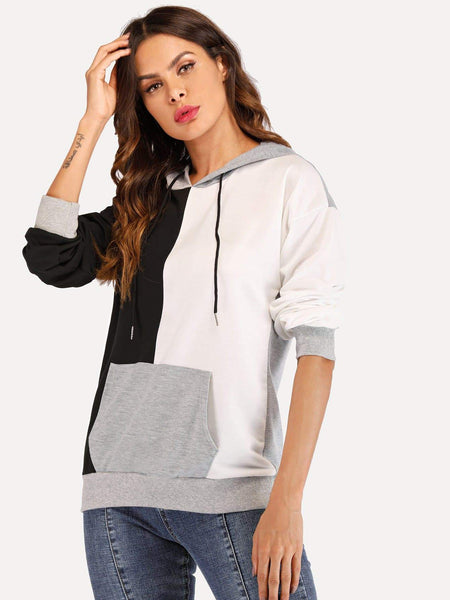 Emma Clothing Women S Drawstring Hoodie Colorblock Sweatshirt