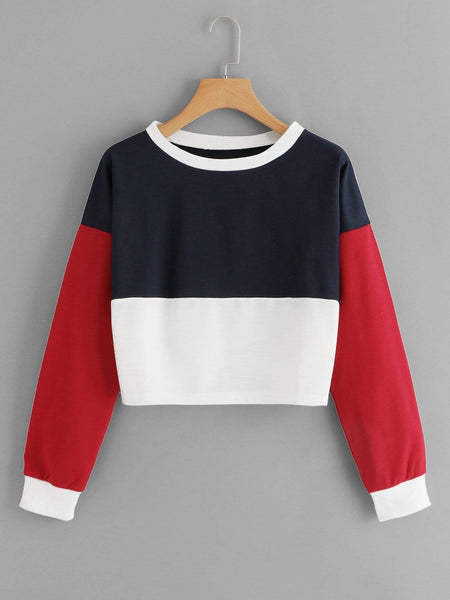 Emma Clothing Women S Drop Shoulder Color Block Sweatshirt