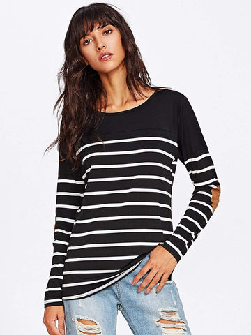 Emma Clothing Women S Elbow Patch Striped Tee