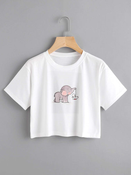 Emma Clothing Women S Elephant Print Crop Tee