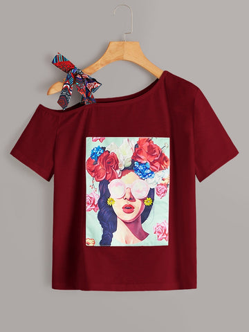 Emma Clothing Women S Figure & Floral Graphic Asymmetrical Neck Knot Tee