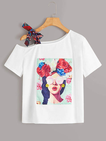 Emma Clothing Women S Figure Graphic Cut Out Knot Neck Tee