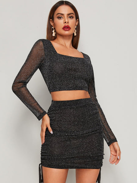 Emma Clothing Women S Glitter Square Neck Crop Top & Drawstring Skirt