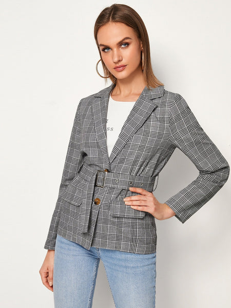 Emma Clothing Women S Lapel Collar Button Front Plaid Belted Blazer