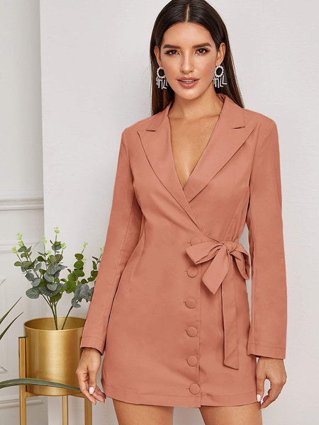 Emma Clothing Women S Lapel Neck Covered Button Tie Side Blazer Dress