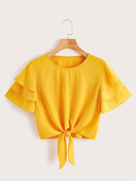 Emma Clothing Women S Layered Sleeve Knot Hem Blouse
