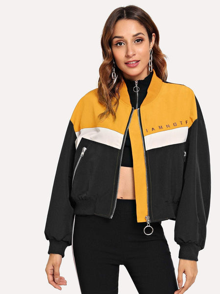 Emma Clothing Women S Letter Graphic Color Block Zip Up Jacket