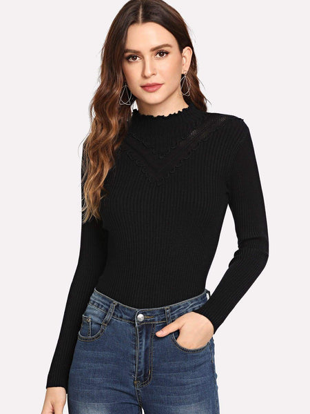 Emma Clothing Women S Lettuce Trim Ribbed Knit Sweater