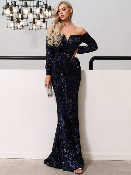 Emma Clothing Women S Missord V Bar Off Shoulder Sequin Maxi Dress