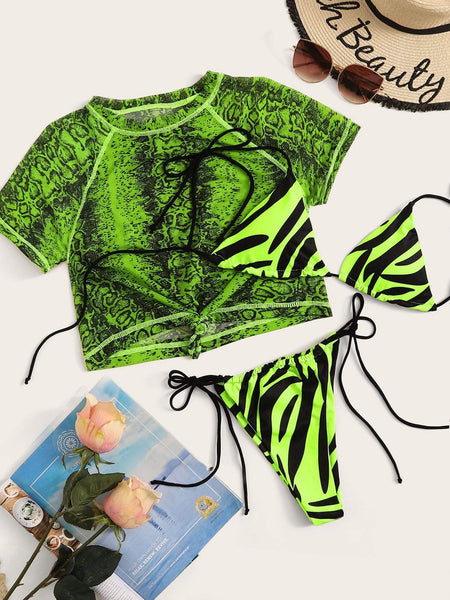 Emma Clothing Women S Neon Lime Zebra Print Short Sleeve 3Piece Co-ord Bikini
