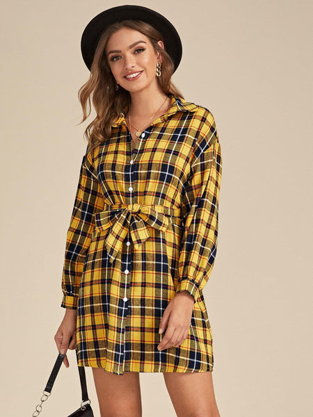 Emma Clothing Women S Plaid Button Through Belted Shirt Dress