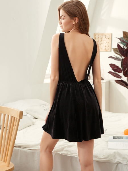 Emma Clothing Women S Plunge Back Velvet Night Dress
