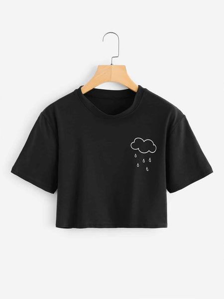 Emma Clothing Women S Rainy Print Crop Tee