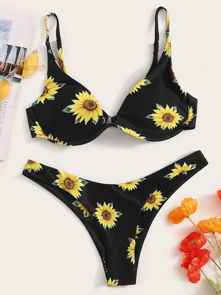 Emma Clothing Women S Random Sunflower Print Underwired Top With Hipster Bikini